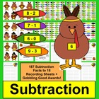 Thanksgiving Math Centers: Subtraction: Turkey Feather Mat