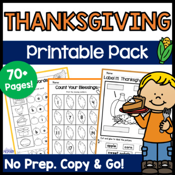 Thanksgiving Activities - Copy & Go Thanksgiving Math & Literacy Printable Pack