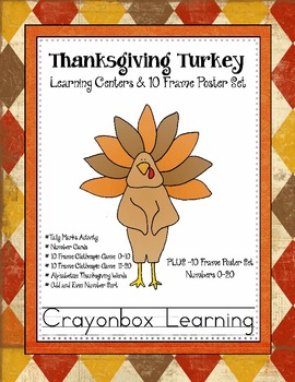 Thanksgiving Turkey 10 Frame  Learning Centers - Common Core
