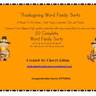 Thanksgiving Turkey Word Family Sorts With 20 Most Commonl