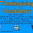 Thanksgiving Vocabulary for Kindergarten- Reading and Writing