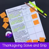 Thanksgiving Word Problems- Solve and Snip- Common Core & TEKS