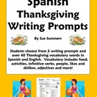 Thanksgiving Writing Assignment With Spanish Thanksgiving