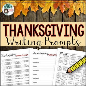 Thanksgiving Writing Prompts - Brainstorming, Writing Paper, Rubric