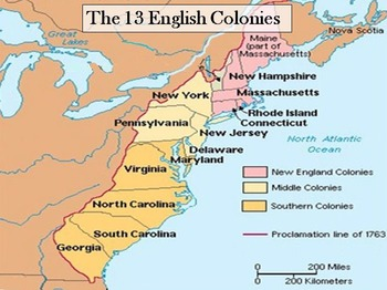 Mrs Dells US History Class The Middle And Southern Colonies - Us 13 colonies map