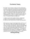 The Atomic Theory Common Core Reading and Writing Activity