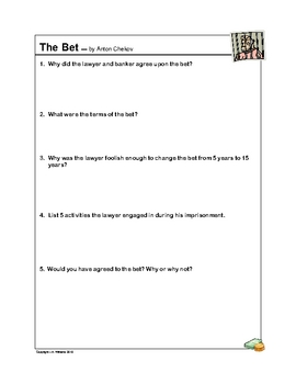 """The Bet"" Short Story Questions (By Anton Chekhov)"