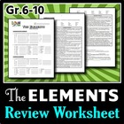 The Elements - Review Worksheet