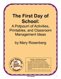 The First Day of School  A Potpourri of Activities, Printa