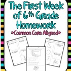 The First Week of 6th Grade Homework *Common Core Aligned*