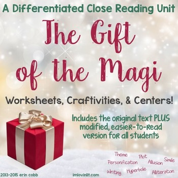 The Gift of the Magi Differentiated Unit for 4-8 with Craftivities & Centers!