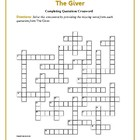 The Giver: Completing Quotations Crossword