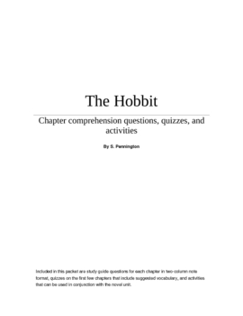 The Hobbit Study questions, sample quizzes, and activities