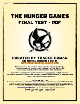 The Hunger Games Final Exam with Vocab Final Test - PDF