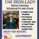 The Iron Lady Movie Viewing Guide and Worksheets / Tests