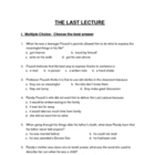 The Last Lecture Test 45 Questions with Answer Key