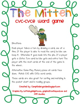 The Mitten CVC -CVCe Word Card Game