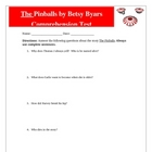The Pinballs Reading Comprehension Test, Answer Key, and Rubric
