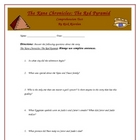 The Red Pyramid Reading Comprehension Test, Key, and Rubric