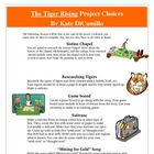 The Tiger Rising Creative Reading Project Activities Rubri