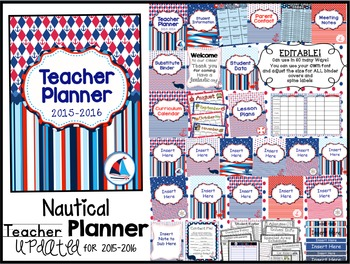 Editable Teaching Survival Binder: Nautical Themed