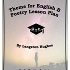 Theme for English B Poem by Langston Hughes Lesson Plans,
