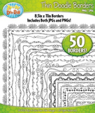 Thin Doodle Frame Borders Set 1  — Includes 50 Graphics!