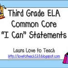 "Third Grade CCSS ELA ""I Can"" Posters (Circus Themed)"