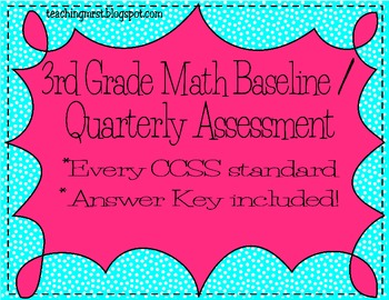 Third Grade Common Core Math Assessment Baseline/Quarterly