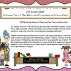 3rd Grade Common Core Math Checklists and Drop Down Lesson Plans