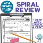4th Grade Daily Math Spiral Review Week 1 - FREEBIE