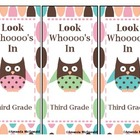 Third Grade Owl Bookmark