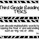 Third Grade Reading TEKS ~ Black Zebra