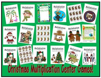 Thirteen Christmas Multiplication Center Games