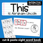 """Interactive Sight Word Reader """"This is Abraham Lincoln"""""""