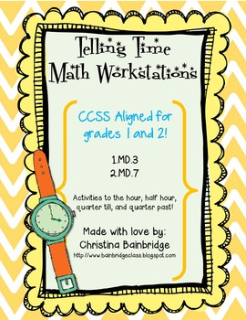 Time Math Centers- CCSS fun for 1st and 2nd Grades- 1.MD.3