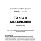 To Kill a Mockingbird Chapters 11-15 Study Guide Questions