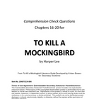 To Kill a Mockingbird Chapters 16-20 Study Guide Questions