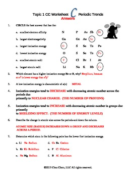 Periodic Table Trends Worksheet Answers: Periodic Trends Worksheet   Delibertad,