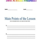 Topic Summary Worksheets