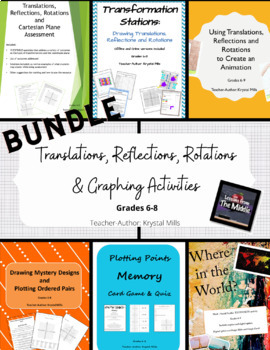 Translations, Reflections, Rotations, and Graphing Activities Gr. 6-8
