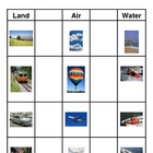 Transportation: Land, Air, and Water Sort