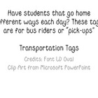 Transportation Tags--updated to include PreK to 3rd tags,