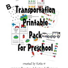 Transportation Themed Printable Pack for Preschool