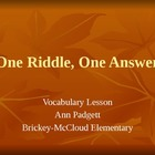 Treasures Vocabulary Power Point for One Riddle, One Answer