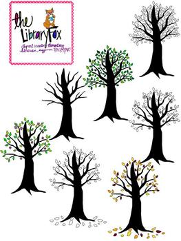 Trees for every season with blacklines for Personal or Commercial Use