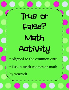 True or False Equation Sort First Grade Activity (Common C