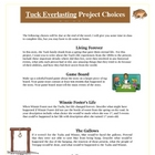 Tuck Everlasting Reading Creative Projects, Activities and Rubric