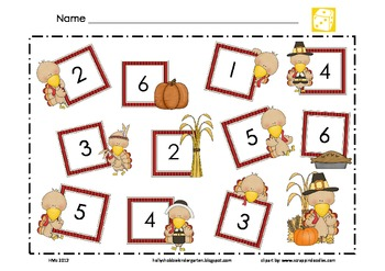 Turkey Math Mat ~ Roll and Cover or Color Game