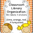 Turquoise, Red, Orange, & Lime Classroom Library Organization